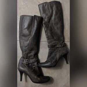 Gianni Bini Kool It Distressed Leather Tall Boots
